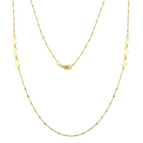 Wholesale Sterling Silver 925 Gold Plated Alternating Bead Crescent Moon Necklace - ECN00035GP