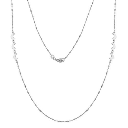 Wholesale Sterling Silver 925 Rhodium Plated Alternating Bead Crescent Moon Necklace - ECN00035RH
