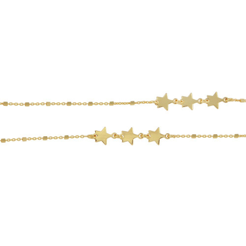 Wholesale Sterling Silver 925 Gold Plated Alternating Stars Chain Necklace - ECN00036GP