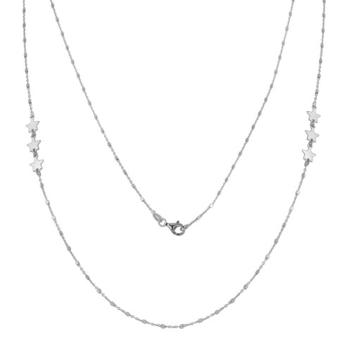 Wholesale Sterling Silver 925 Rhodium Plated Alternating Stars Chain Necklace - ECN00036RH