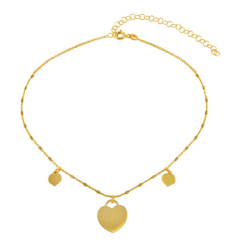 Wholesale Sterling Silver 925 Gold Plated Triple Heart Choker Necklace - ECN00037GP