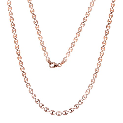 Wholesale Sterling Silver 925 Rose Gold Plated Double Hole Link Necklace - ECN00039RGP
