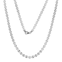 Wholesale Sterling Silver 925 Rhodium Plated Double Hole Link Necklace - ECN00039RH