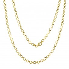 Wholesale Sterling Silver 925 Gold Plated Link Chain Necklace - ECN00040GP