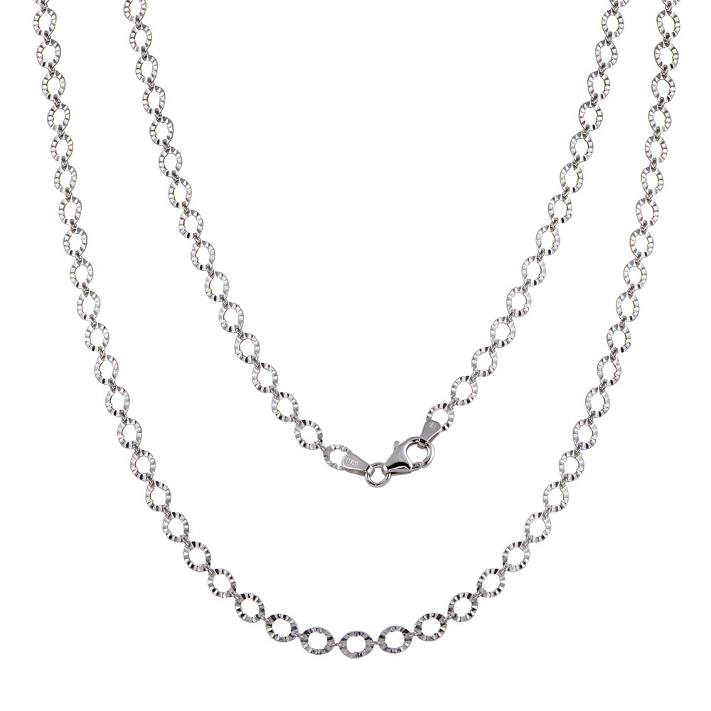 Wholesale Silver Silver 925 Rhodium Plated Link Chain Necklace - ECN00040RH