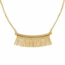 Wholesale Sterling Silver 925 Gold Plated Bar with Tassels Necklace - ECN00041GP