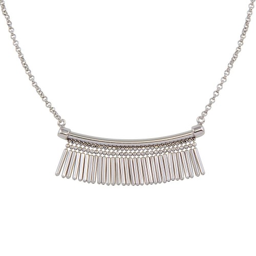 Wholesale Sterling Silver 925 Rhodium Plated Bar with Tassels Necklace - ECN00041RH