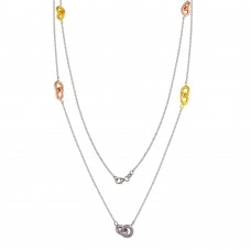 Wholesale Sterling Silver 925 Tri-Colored Link Chain Necklace - ECN00042TRI