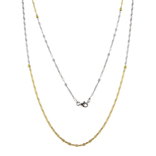 Wholesale Sterling Silver 925 Two-Toned Rhodium and Gold Plated Chain Necklace - ECN00043RH/GP