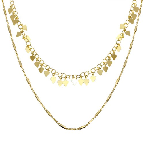Wholesale Sterling Silver 925 Gold Plated Double Chain Confetti Necklace - ECN00047GP