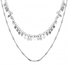 Wholesale Sterling Silver 925 Rhodium Plated Double Chain Confetti Necklace - ECN00047RH