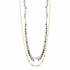 Wholesale Sterling Silver 925 Two-Toned Double Chain Confetti Necklace - ECN00047YW