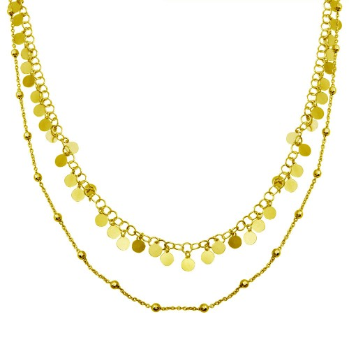 Wholesale Sterling Silver 925 Gold Plated Double Chain Confetti Necklace - ECN00048GP