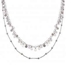 Wholesale Sterling Silver 925 Rhodium Plated Double Chain Confetti Necklace - ECN00048RH