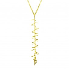 Wholesale Sterling Silver 925 Gold Plated Spiky Drop Necklace - ECN00049GP