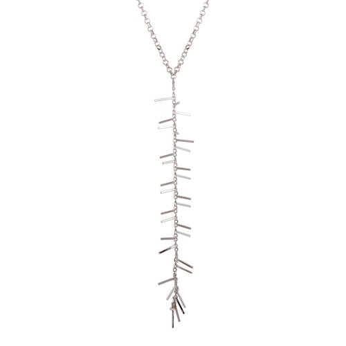 Wholesale Sterling Silver 925 Rhodium Plated Spiky Drop Necklace - ECN00049RH