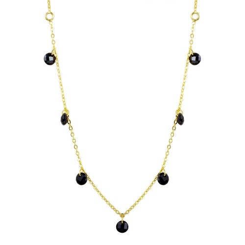 Wholesale Sterling Silver 925 Gold Plated Dangling Black CZ Chain Necklace - ECN00050GP
