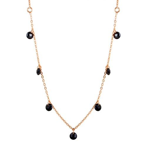 Wholesale Sterling Silver 925 Rose Gold Plated Dangling Black CZ Chain Necklace - ECN00050RGP