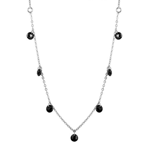 Wholesale Sterling Silver 925 Rhodium Plated Dangling Black CZ Chain Necklace - ECN00050RH