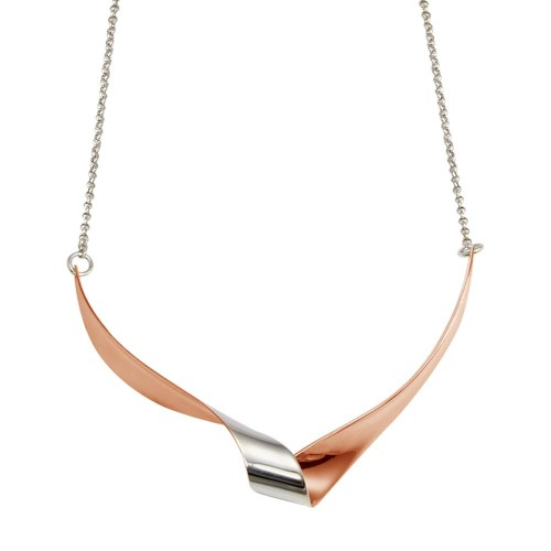 Wholesale Sterling Silver 925 Rhodium and Rose Gold Plated Wave Design Chain Necklace - ECN00051