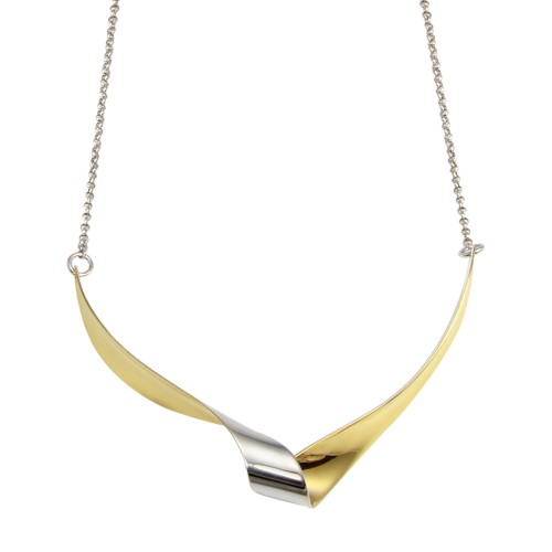 Wholesale Sterling Silver 925 Rhodium and Gold Plated Wave Design Chain Necklace - ECN00052