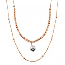 Wholesale Sterling Silver 925 Rose Gold Plated Multi Chain Cube and Bead Necklace - ECN00059RGP