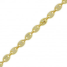 Wholesale Sterling Silver 925 Gold Plated CZ Encrusted Oval Link Bracelet 12.2mm - CHCZ106B GP