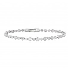 Wholesale Sterling Silver 925 Rhodium Plated Multiple Circle and Marquis Clear Tennis Micro Pave CZ Bracelet - GMB00006