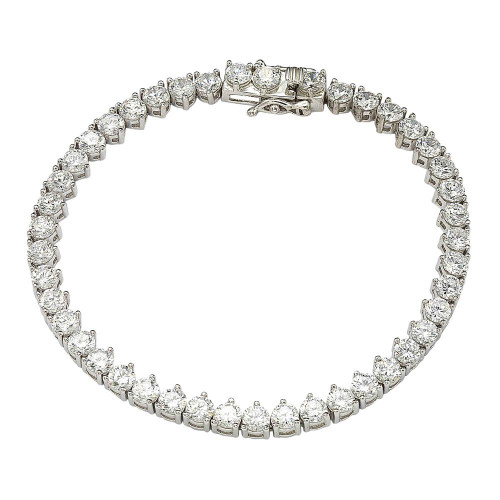 Wholesale Sterling Silver 925 Rhodium Plated Clear CZ 3 Prong Tennis Bracelet - GMB00008