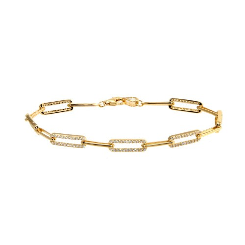 Wholesale Sterling Silver 925 Gold Plated CZ Paperclip Bracelet - GMB00090GP