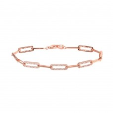 Wholesale Sterling Silver 925 Rose Gold Plated CZ Paperclip Bracelet 7.25 - GMB00090RGP