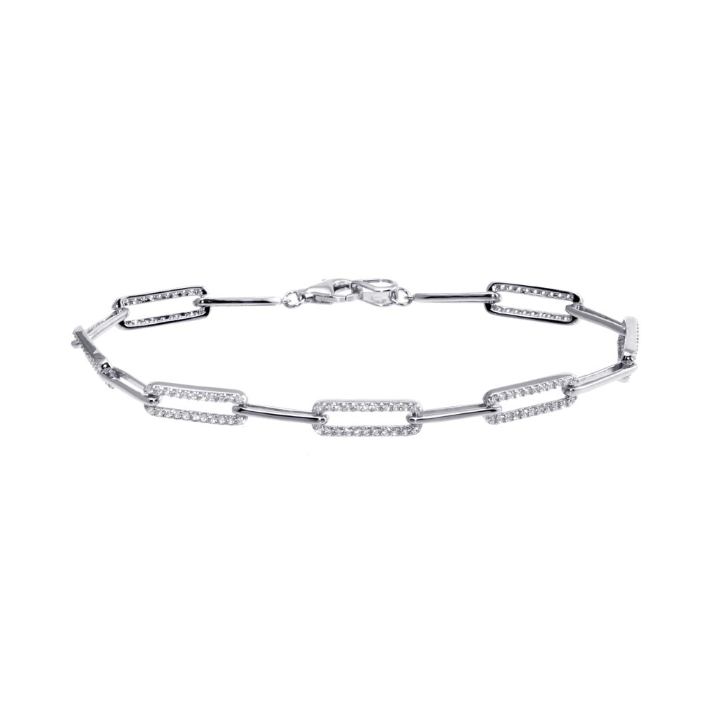 Wholesale Sterling Silver 925 Rhodium Plated CZ Paperclip Bracelet 7.25 - GMB00090