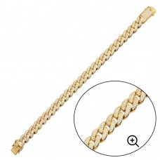 Wholesale Sterling Silver 925 Gold Plated CZ Encrusted Miami Cuban Link Bracelet 11.5mm - GMB00091GP