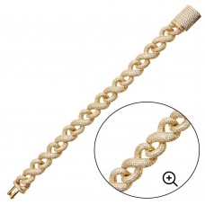 Wholesale Sterling Silver 925 Gold Plated CZ Encrusted Miami Cuban Link Bracelet 13.8mm - GMB00092GP
