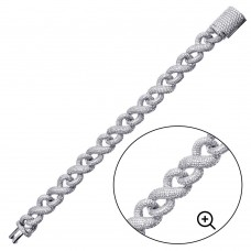 Wholesale Sterling Silver 925 Rhodium Plated CZ Encrusted Miami Cuban Link Bracelet 13.8mm - GMB00092