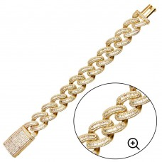 Wholesale Sterling Silver 925 Gold Plated CZ Encrusted Miami Cuban Link Bracelet 19.5mm - GMB00094GP