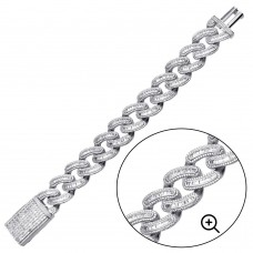 Wholesale Sterling Silver 925 Rhodium Plated CZ Encrusted Miami Cuban Link Bracelet 19.5mm - GMB00094