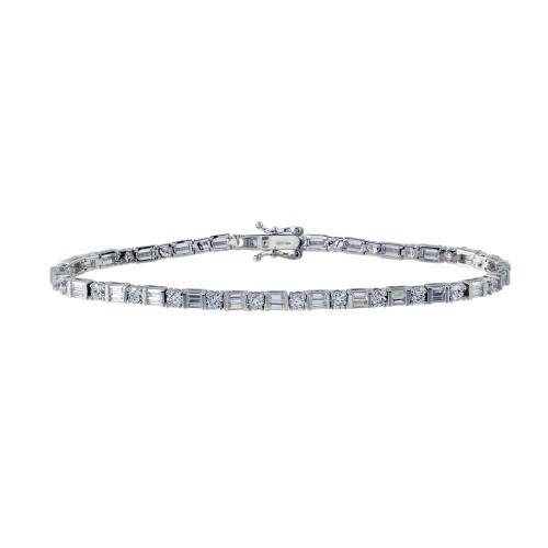 Wholesale Sterling Silver 925 Rhodium Plated Round and Square  CZ Tennis Bracelet - GMB00016RH