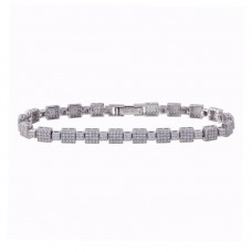 Wholesale Sterling Silver 925 Rhodium Plated Square Micro Pave Link CZ Tennis Bracelet - GMB00017RH