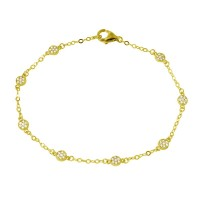 Wholesale Sterling Silver 925 Gold Plated Small Round Floral CZ Bracelet - GMB00020GP