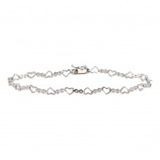 Wholesale Sterling Silver 925 Rhodium Plated Heart and Circles CZ Accented Bracelet - GMB00022
