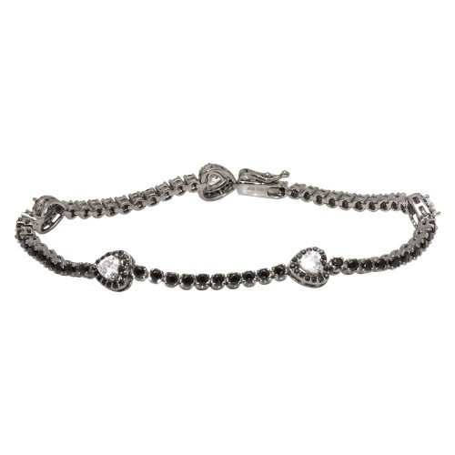 Wholesale Sterling Silver 925 Rhodium Plated Heart Tennis Bracelet with Black and Clear CZ - GMB00057BLK