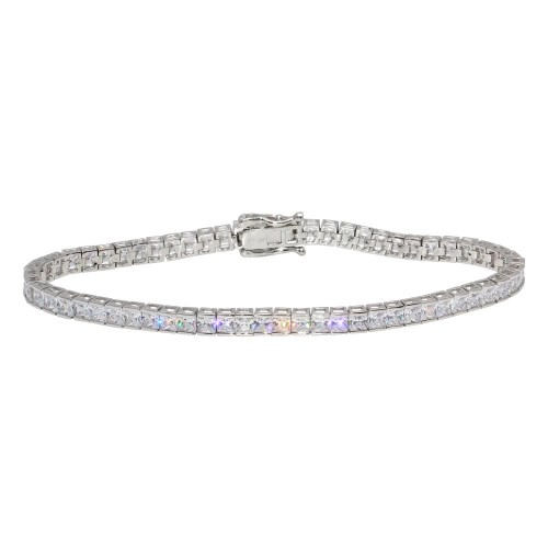Wholesale Sterling Silver 925 Rhodium Plated Clear CZ Tennis Bracelet - GMB00059