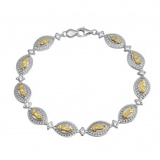 Wholesale Sterling Silver 925 2 Toned Oval Mary Link Tennis Bracelet - GMB00063RG