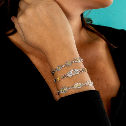 Wholesale Sterling Silver 925 2 Toned Oval Mary Link Tennis Bracelet - GMB00064RG