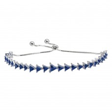 Wholesale Sterling Silver 925 Rhodium Plated Blue CZ Triangle Lariat Bracelet - GMB00066BLU