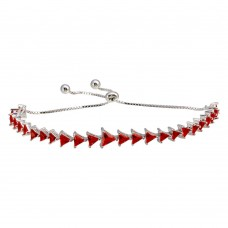 Wholesale Sterling Silver 925 Rhodium Plated Red CZ Triangle Lariat Bracelet - GMB00066RED