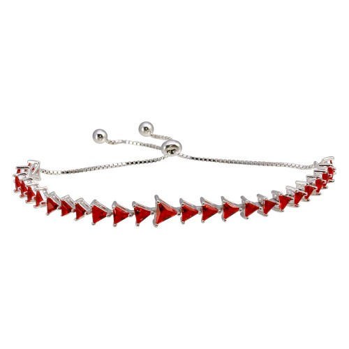 Wholesale Sterling Silver 925 Rhodium Plated Red CZ Triangle Lariat Bracelet - GMB00066-RUBY