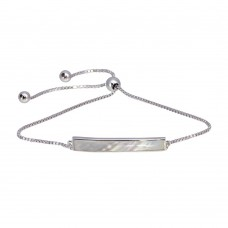 Wholesale Sterling Silver 925 Rhodium Plated Synthetic Mother of Pearl Bar Chain Lariat Bracelet - GMB00067