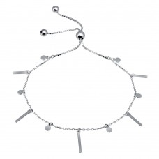 Wholesale Sterling Silver 925 Rhodium Plated Layered Dangling Bar and Disc Chain Lariat Bracelet - GMB00069